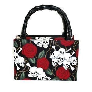 Skull bones roses wood handle purse tote bag